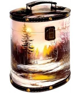 ТУЕС ЗИМНИЙ ПЕЙЗАЖ дерево+кожа 1000 гр